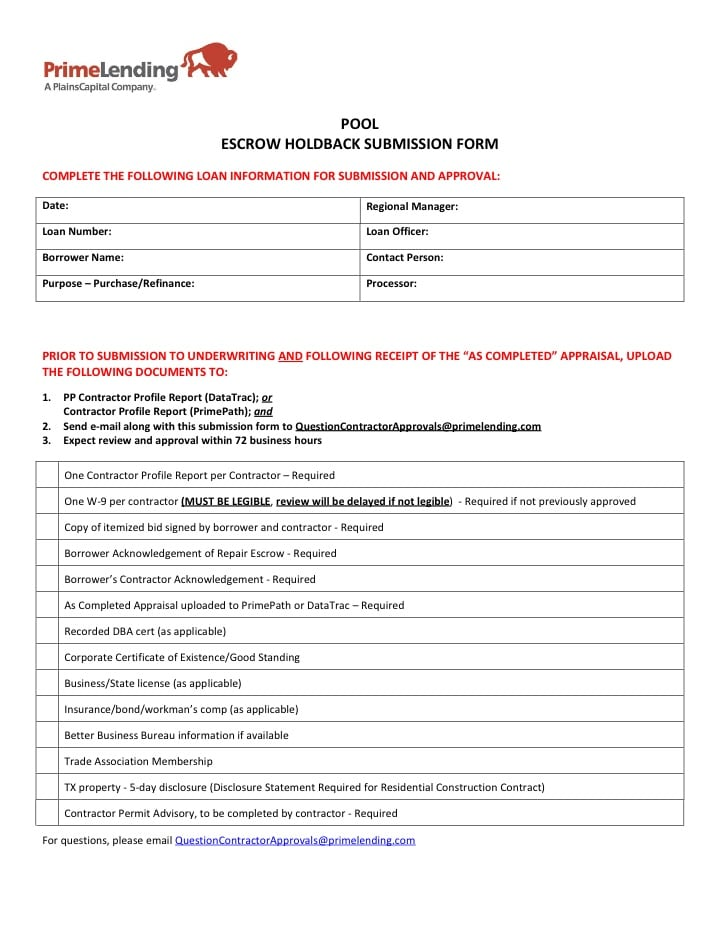 Poolescrowchecklist 001 escrow holdback checklist images for Loan processing checklist template