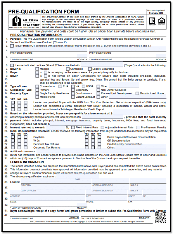 Pre-qualification form for VA, FHA, Conventional or JUMBO home loan in Arizona.